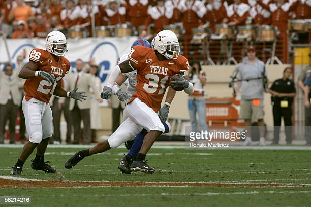Cornerback Aaron Ross of the University of Texas Longhorns carries the ball against the University of Kansas Jayhawks on November 12 2005 at Texas...