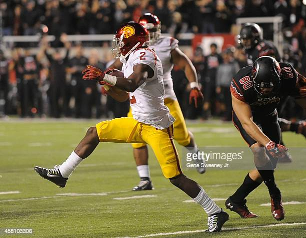 Cornerback Adoree' Jackson of the USC Trojans runs after his fumble recovery during their game against the Utah Utes at RiceEccles Stadium on October...