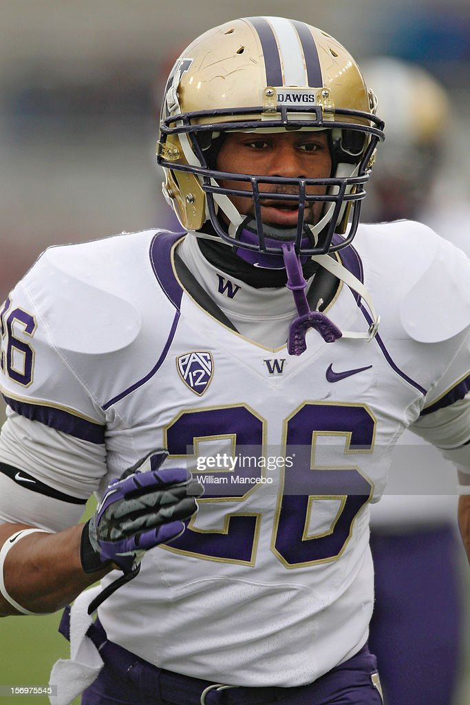 Cornerback Anthony Gobern #26 of the Washington Huskies during warm ups prior to the start of the Apple Cup game against the Washington State Cougars at Martin Stadium on November 23, 2012 in Pullman, Washington.