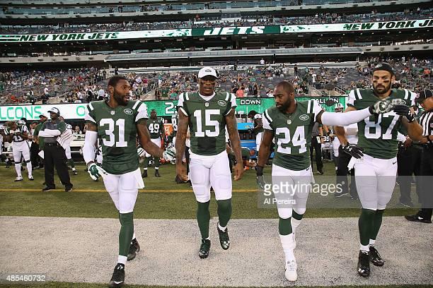 Cornerback Antonio Cromartie Wide Receiver Brandon Marshall Cornerback Darrelle Revis and Wide Receiver Eric Decker of the New York Jets take the...