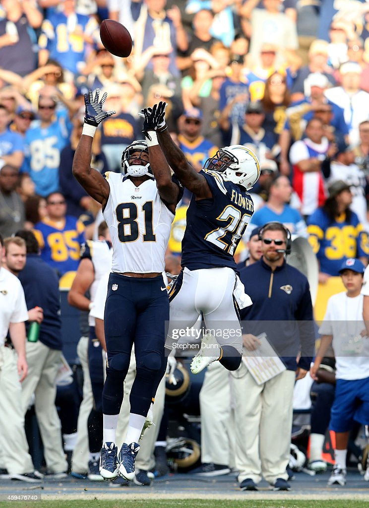 Cornerback <a gi-track='captionPersonalityLinkClicked' href=/galleries/search?phrase=Brandon+Flowers+-+American+Football+Player&family=editorial&specificpeople=7270342 ng-click='$event.stopPropagation()'>Brandon Flowers</a> #36 of the San Diego Chargers breaks up a pass intended for wide receiver <a gi-track='captionPersonalityLinkClicked' href=/galleries/search?phrase=Kenny+Britt&family=editorial&specificpeople=469830 ng-click='$event.stopPropagation()'>Kenny Britt</a> #81 of the St. Louis Rams at Qualcomm Stadium on November 23, 2014 in San Diego, California. The Chargers won 27-24.