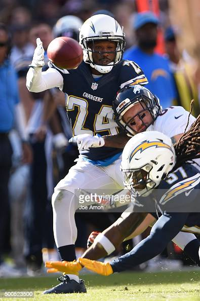 Cornerback Brandon Flowers of the San Diego Chargers is hurt on this play breaking up a pass to tight end Owen Daniels of the Denver Broncos at...