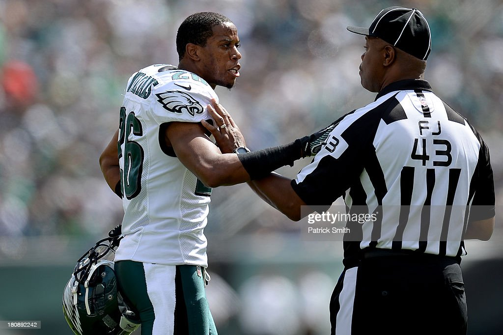 Cornerback <a gi-track='captionPersonalityLinkClicked' href=/galleries/search?phrase=Cary+Williams+-+American+Football+Player&family=editorial&specificpeople=10178470 ng-click='$event.stopPropagation()'>Cary Williams</a> #26 of the Philadelphia Eagles argues a call with an offical against the San Diego Chargers at Lincoln Financial Field on September 15, 2013 in Philadelphia, Pennsylvania. The San Diego Chargers won, 33-30.