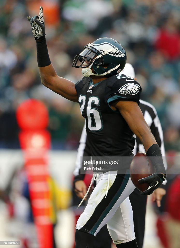 Cornerback <a gi-track='captionPersonalityLinkClicked' href=/galleries/search?phrase=Cary+Williams+-+American+Football+Player&family=editorial&specificpeople=10178470 ng-click='$event.stopPropagation()'>Cary Williams</a> #26 of the Philadelphia Eagles reacts after making an interception intended for wide receiver Andre Roberts #12 of the Arizona Cardinals in the third quarter during a game at Lincoln Financial Field on December 1, 2013 in Philadelphia, Pennsylvania. The Eagles defeated the Cardinals 24-21.