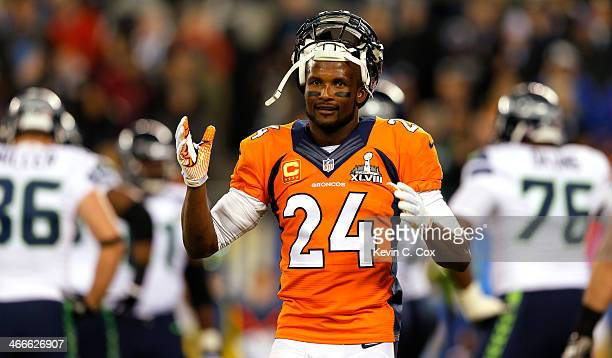Cornerback Champ Bailey of the Denver Broncos reacts in the first quarter against the Seattle Seahawks during Super Bowl XLVIII at MetLife Stadium on...