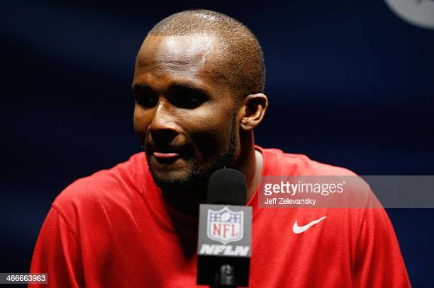 Cornerback Champ Bailey of the Denver Broncos speaks to the press after Super Bowl XLVIII at MetLife Stadium on February 2 2014 in East Rutherford...