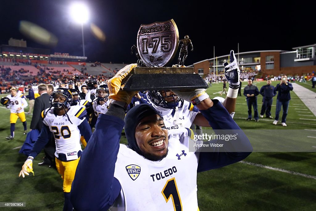 Cornerback Cheatham Norrils #1 of the Toledo Rockets celebrates after defeating the Bowling Green Falcons 44-28 at Doyt Perry Stadium on November 17, 2015 in Bowling Green, Ohio.
