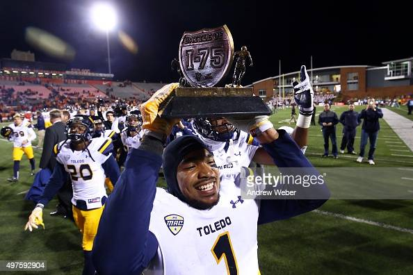 Cornerback Cheatham Norrils of the Toledo Rockets celebrates after defeating the Bowling Green Falcons 4428 at Doyt Perry Stadium on November 17 2015...