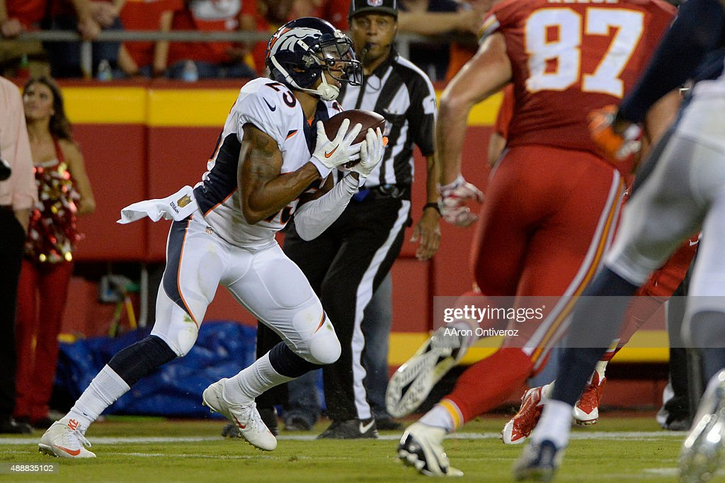 Cornerback <a gi-track='captionPersonalityLinkClicked' href=/galleries/search?phrase=Chris+Harris+-+American+Football+Cornerback&family=editorial&specificpeople=15029474 ng-click='$event.stopPropagation()'>Chris Harris</a> (25) of the Denver Broncos makes an interception on a pass by quarterback Alex Smith (11) of the Kansas City Chiefs inside the Broncos' own 10-yard line during the second half of the Broncos' 31-24 win at Arrowhead Stadium. The Kansas City Chiefs hosted the Denver Broncos on Thursday, September 17, 2015.