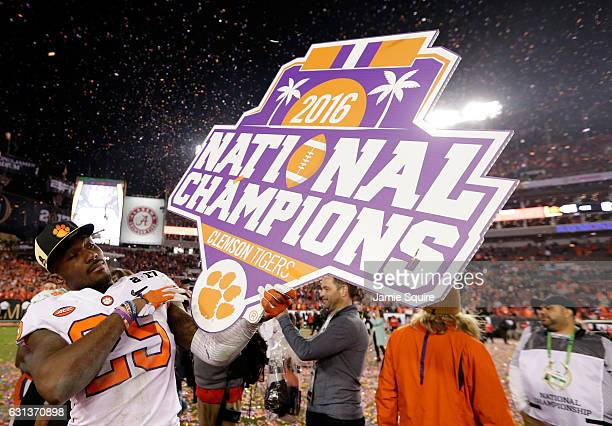 Cornerback Cordrea Tankersley of the Clemson Tigers celebrates after defeating the Alabama Crimson Tide 3531 to win the 2017 College Football Playoff...