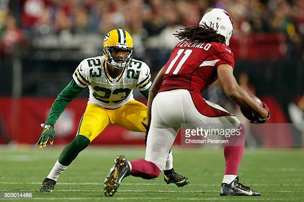 Cornerback Damarious Randall of the Green Bay Packers defends against wide receiver Larry Fitzgerald of the Arizona Cardinals during the NFL game at...