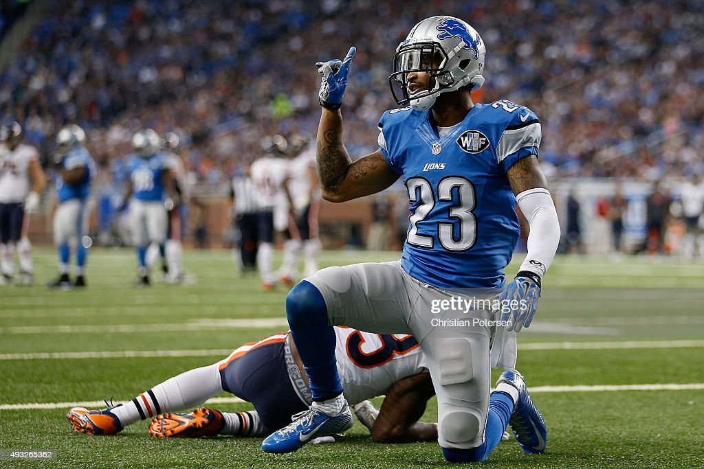 Cornerback Darius Slay #23 of the Detroit Lions reacts after a defensive stop against the Chicago Bears during the fourth quarter of the NFL game at Ford Field on October 18, 2015 in Detroit, Michigan. The Lions defeated the Bears 37-34 in overtime.