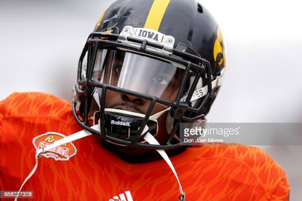 Cornerback Desmond King from Iowa of the North Team during the 2017 Resse's Senior Bowl at LaddPeebles Stadium on January 28 2017 in Mobile Alabama...