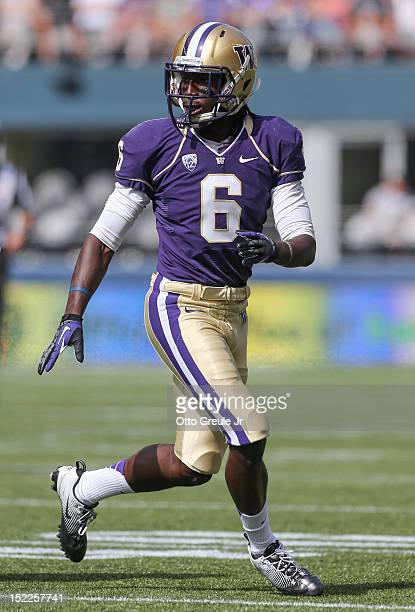 Cornerback Desmond Trufant of the Washington Huskies follows the play against the Portland State Vikings on September 15 2012 at CenturyLink Field in...