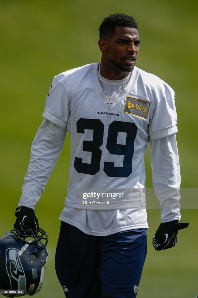Cornerback <a gi-track='captionPersonalityLinkClicked' href=/galleries/search?phrase=Eric+Pinkins&family=editorial&specificpeople=8748879 ng-click='$event.stopPropagation()'>Eric Pinkins</a> #39 of the Seattle Seahawks looks on during Rookie Minicamp at the Virginia Mason Athletic Center on May 17, 2014 in Renton, Washington.