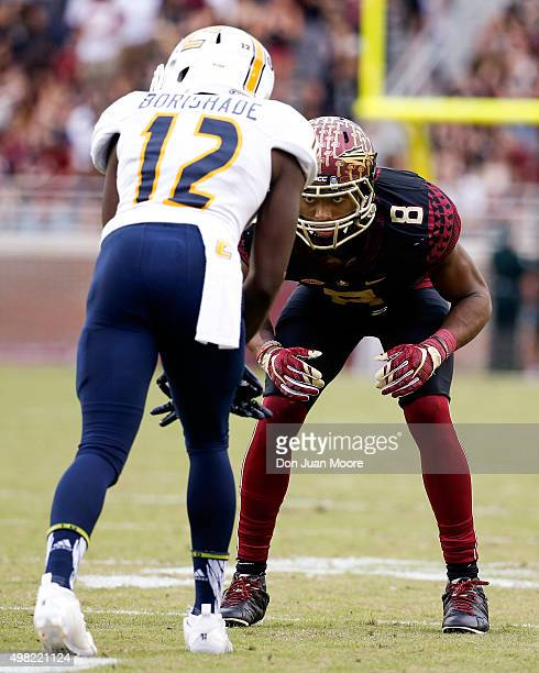 Cornerback Jalen Ramsey of the Florida State Seminoles defense Wide Receiver Xavier Borishade during the game against the Chattanooga Mocs at Doak...