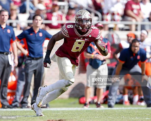 Cornerback Jalen Ramsey of the Florida State Seminoles during the game against the Syracuse Orange at Doak Campbell Stadium on Bobby Bowden Field on...