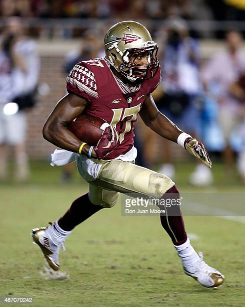 Cornerback Jalen Ramsey of the Florida State Seminoles on a kickoff return during the game against the Texas State Bobcats at Doak Campbell Stadium...