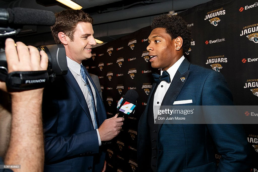 Cornerback <a gi-track='captionPersonalityLinkClicked' href=/galleries/search?phrase=Jalen+Ramsey&family=editorial&specificpeople=11328626 ng-click='$event.stopPropagation()'>Jalen Ramsey</a> of the Jacksonville Jaguars speak with the media for the first time at EverBank Field on April 29, 2016 in Jacksonville, Florida. The Jaguars selected Ramsey fifth overall out of Florida State University in the 2016 NFL Draft.