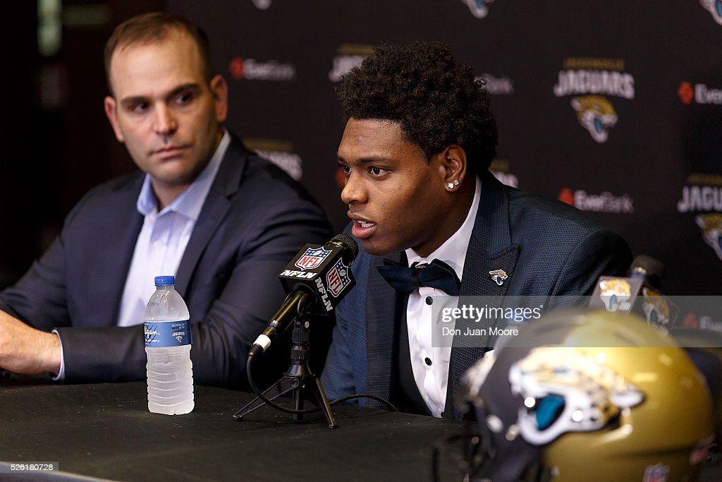Cornerback <a gi-track='captionPersonalityLinkClicked' href=/galleries/search?phrase=Jalen+Ramsey&family=editorial&specificpeople=11328626 ng-click='$event.stopPropagation()'>Jalen Ramsey</a> of the Jacksonville Jaguars speaking to the media for the first time as General Manager Dave Caldwell looks on at EverBank Field on April 29, 2016 in Jacksonville, Florida. The Jaguars selected Ramsey fifth overall out of Florida State University in the 2016 NFL Draft.