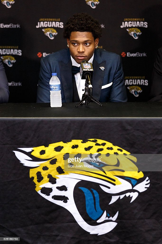 Cornerback <a gi-track='captionPersonalityLinkClicked' href=/galleries/search?phrase=Jalen+Ramsey&family=editorial&specificpeople=11328626 ng-click='$event.stopPropagation()'>Jalen Ramsey</a> of the Jacksonville Jaguars speaking to the media for the first time at EverBank Field on April 29, 2016 in Jacksonville, Florida. The Jaguars selected Ramsey fifth overall out of Florida State University in the 2016 NFL Draft.