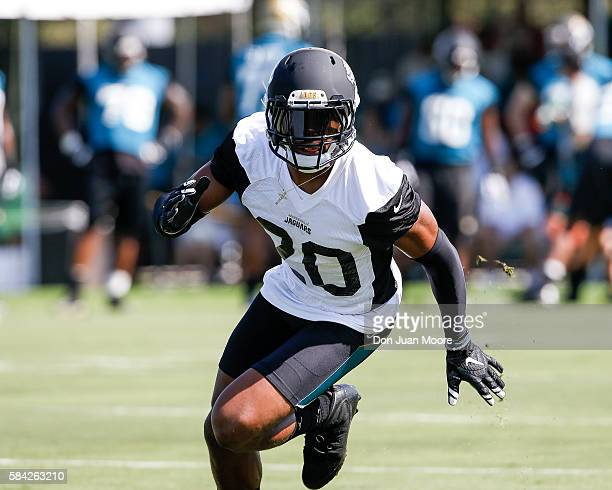 Cornerback Jalen Ramsey of the Jacksonville Jaguars works out during Training Camp at Florida Blue Health and Wellness Practice Fields on July 28...