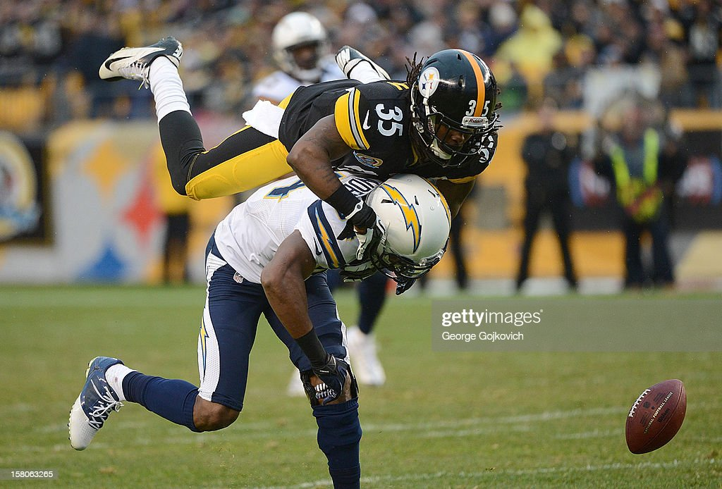 Cornerback Josh Victorian #35 of the Pittsburgh Steelers breaks up a pass intended for wide receiver Danario Alexander #84 of the San Diego Chargers during a game at Heinz Field on December 9, 2012 in Pittsburgh, Pennsylvania. The Chargers defeated the Steelers 34-24.