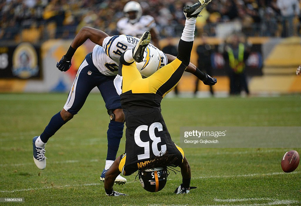 Cornerback Josh Victorian #35 of the Pittsburgh Steelers falls to the ground after breaking up a pass intended for wide receiver Danario Alexander #84 of the San Diego Chargers during a game at Heinz Field on December 9, 2012 in Pittsburgh, Pennsylvania. The Chargers defeated the Steelers 34-24.