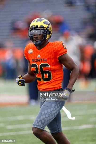 Cornerback Jourdan Lewis from Michigan of the North Team during the 2017 Resse's Senior Bowl at LaddPeebles Stadium on January 28 2017 in Mobile...