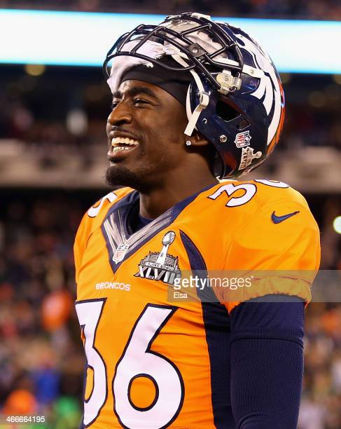 Cornerback Kayvon Webster of the Denver Broncos is shown prior to Super Bowl XLVIII at MetLife Stadium on February 2 2014 in East Rutherford New...