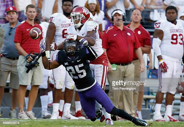 Cornerback Kevin White of the TCU Horned Frogs breaks up a pass intended for wide receiver Sterling Shepard of the Oklahoma Sooners in the second...