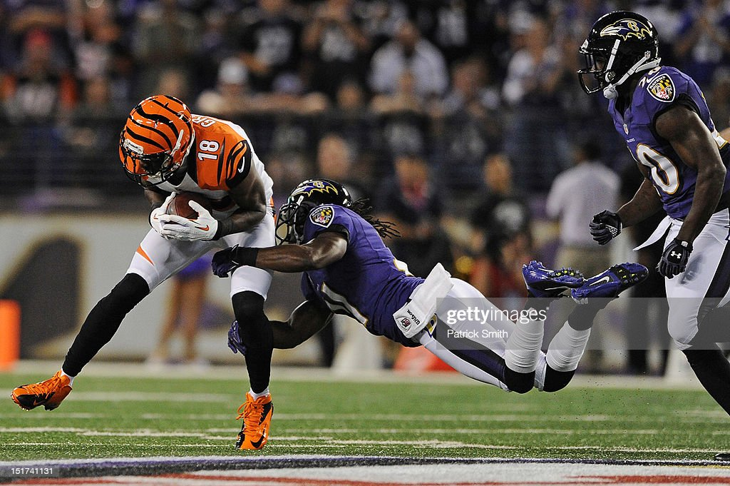 Cornerback <a gi-track='captionPersonalityLinkClicked' href=/galleries/search?phrase=Lardarius+Webb&family=editorial&specificpeople=5735454 ng-click='$event.stopPropagation()'>Lardarius Webb</a> #21 of the Baltimore Ravens pulls down wide receiver <a gi-track='captionPersonalityLinkClicked' href=/galleries/search?phrase=A.J.+Green&family=editorial&specificpeople=5525868 ng-click='$event.stopPropagation()'>A.J. Green</a> #18 of the Cincinnati Bengals in the first quarter at M&T Bank Stadium on September 10, 2012 in Baltimore, Maryland. The Baltimore Ravens won, 44-13.