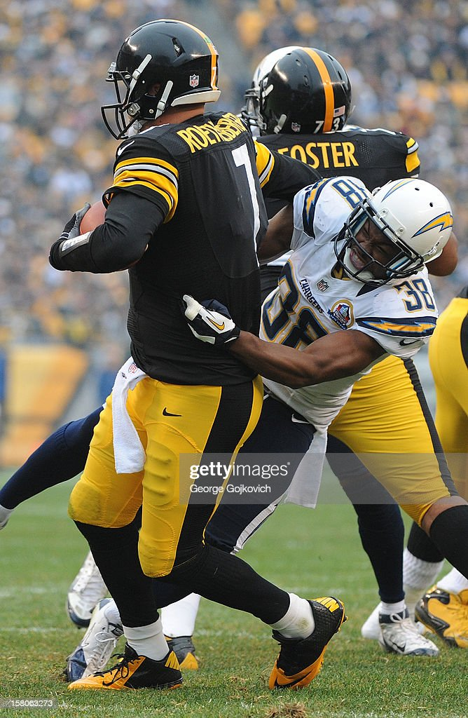 Cornerback Marcus Gilchrist #38 of the San Diego Chargers sacks quarterback Ben Roethlisberger #7 of the Pittsburgh Steelers during a game at Heinz Field on December 9, 2012 in Pittsburgh, Pennsylvania. The Chargers defeated the Steelers 34-24.