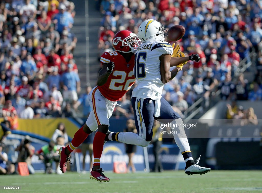 Cornerback Marcus Peters #22 of the Kansas City Chiefs breaks up a pass intended for wide receiver Tyrell Williams #16 of the Los Angeles Chargers in the second half at StubHub Center on September 24, 2017 in Carson, California. The Chiefs defeated the Chargers 24-10.