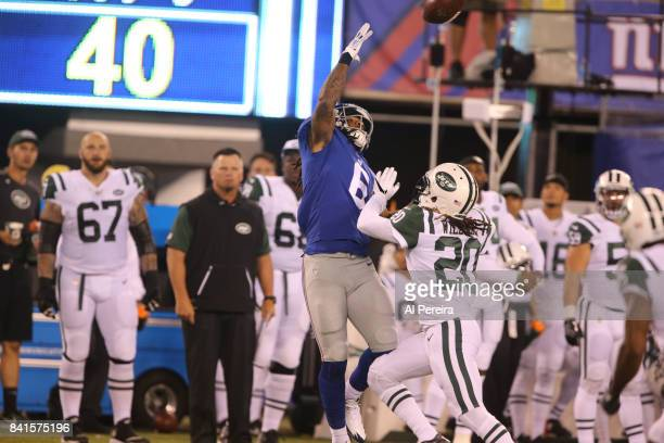 Cornerback Marcus Williams of the New York Jets breaks up a pass against the New York Giants during a preseason game on August 26 2017 at MetLife...