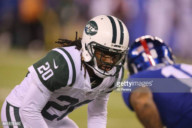 Cornerback Marcus Williams of the New York Jets follows the action against the New York Giants during a preseason game on August 26 2017 at MetLife...