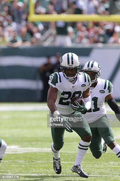 Cornerback Marcus Williams of the New York Jets has an Interception against the Cincinnati Bengals on September 11 2016 at MetLife Stadium in East...