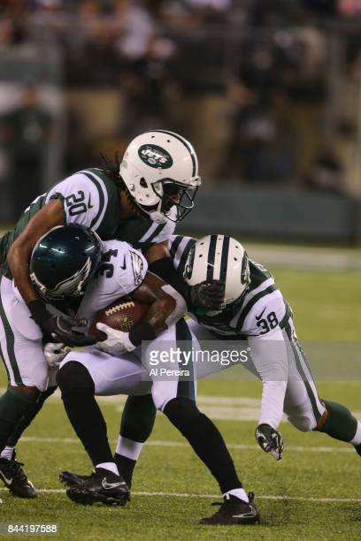 Cornerback Marcus Williams of the New York Jets in action against the Philadelphia Eagles during their preseason game at MetLife Stadium on August 31...
