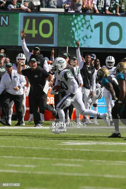 Cornerback Marcus Williams of the New York Jets makes a reception on a fake punt against the Jacksonville Jaguars during their game at MetLife...