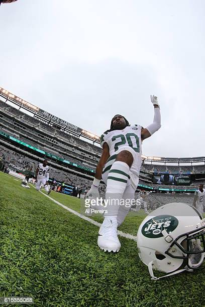 Cornerback Marcus Williams of the New York Jets stretches before the game against the Seattle Seahawks during their game at MetLife Stadium on...