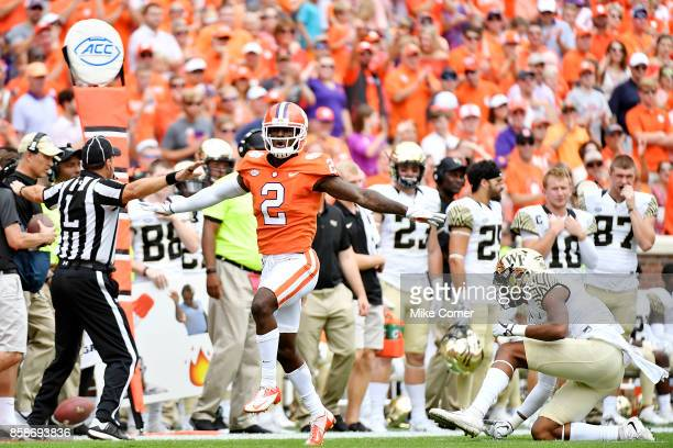 Cornerback Mark Fields of the Clemson Tigers celebrates after breaking up a pass during the Tigers' football game against the Wake Forest Demon...