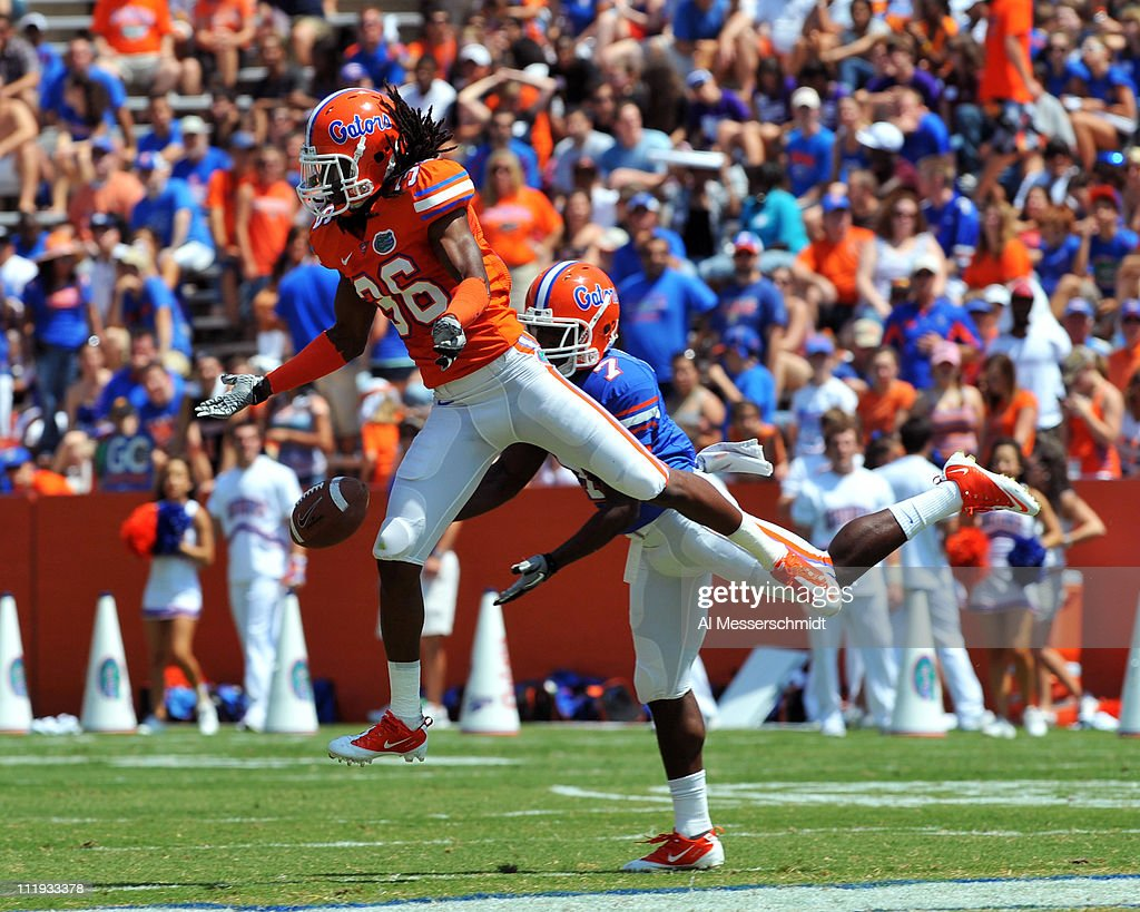 Cornerback Moses Jenkins #36 of the Florida Gators defends against a pass to wide receiver Robert Clark #7 during the Orange and Blue spring football game April 9, 2010 Ben Hill Griffin Stadium in Gainesville, Florida.