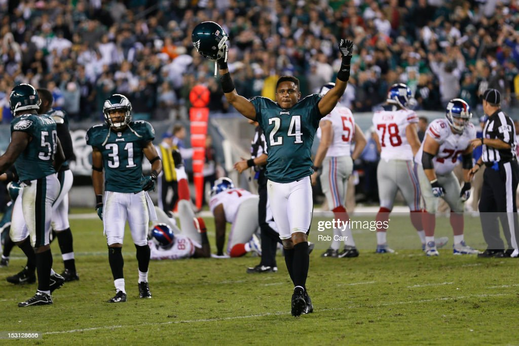 Cornerback Nnamdi Asomugha #24 of the Philadelphia Eagles celebrates after the New York Giants missed a last second field giving the Eagles a 19-17 win at Lincoln Financial Field on September 30, 2012 in Philadelphia, Pennsylvania.