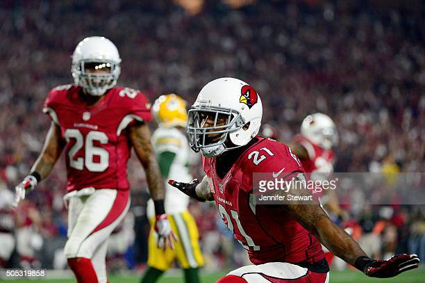 Cornerback Patrick Peterson of the Arizona Cardinals reacts during the fourth quarter of the NFC Divisional Playoff Game at University of Phoenix...