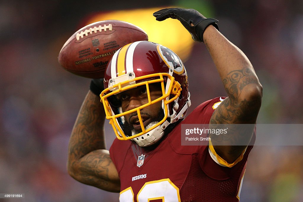Cornerback <a gi-track='captionPersonalityLinkClicked' href=/galleries/search?phrase=Quinton+Dunbar&family=editorial&specificpeople=7174564 ng-click='$event.stopPropagation()'>Quinton Dunbar</a> #47 of the Washington Redskins celebrates after a third quarter interception against the New York Giants at FedExField on November 29, 2015 in Landover, Maryland.