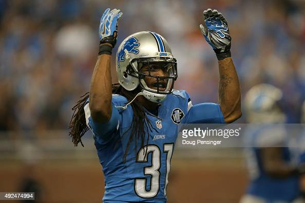 Cornerback Rashean Mathis of the Detroit Lions encourages the fans as they face the Denver Broncos at Ford Field on September 27 2015 in Detroit...