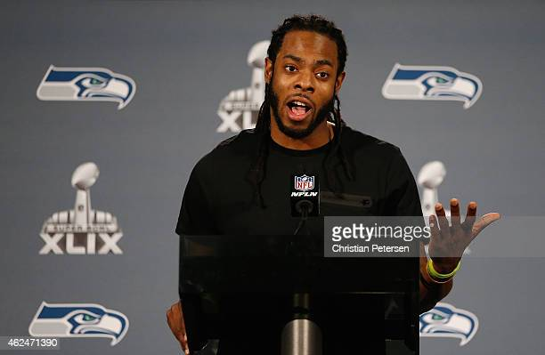 Cornerback Richard Sherman of the Seattle Seahawks speaks during a Super Bowl XLIX media availability at the Arizona Grand Hotel on January 29 2015...