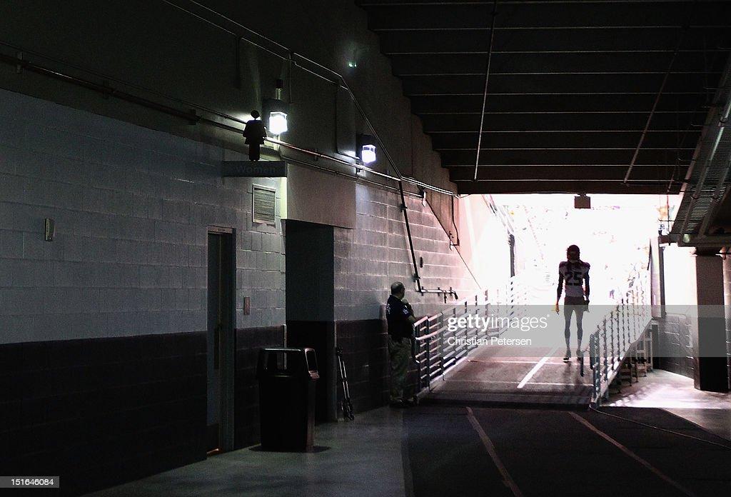 Cornerback Richard Sherman #25 of the Seattle Seahawks walks out onto the field before the season opener against the Arizona Cardinals at the University of Phoenix Stadium on September 9, 2012 in Glendale, Arizona.