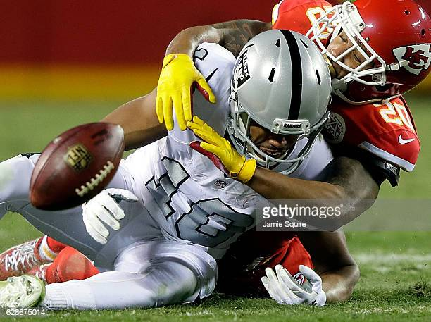 Cornerback Steven Nelson of the Kansas City Chiefs breaks up a pass intended for wide receiver Seth Roberts of the Oakland Raiders during the game at...