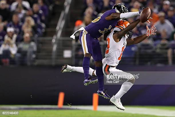Cornerback Tavon Young of the Baltimore Ravens breaks up a pass intended for wide receiver Corey Coleman of the Cleveland Browns in the second...